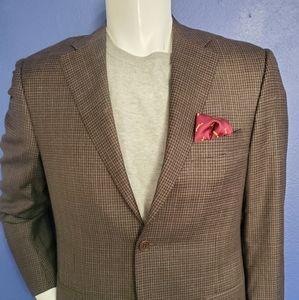 Canali Italain Wool Brown Check Sport Coat 40R